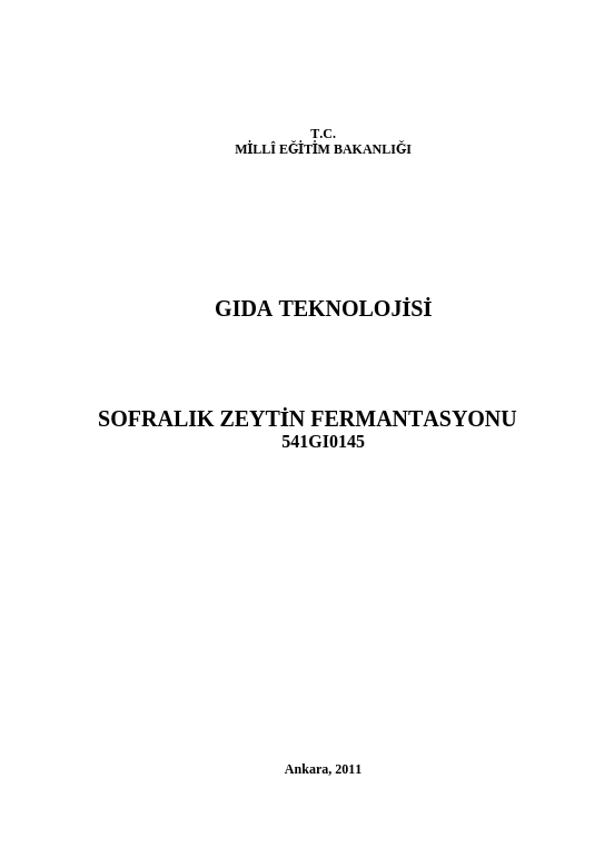 Sofralık Zeytin Fermantasyonu ders notu pdf
