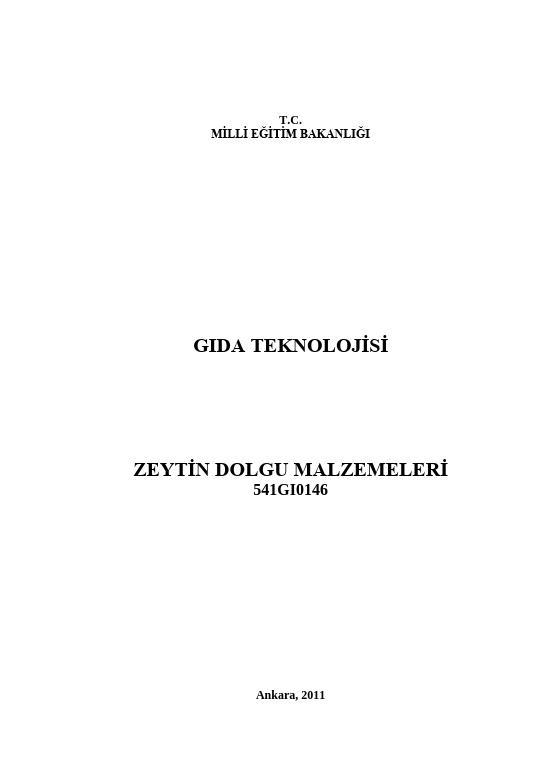 Zeytin Dolgu Malzemeleri ders notu pdf