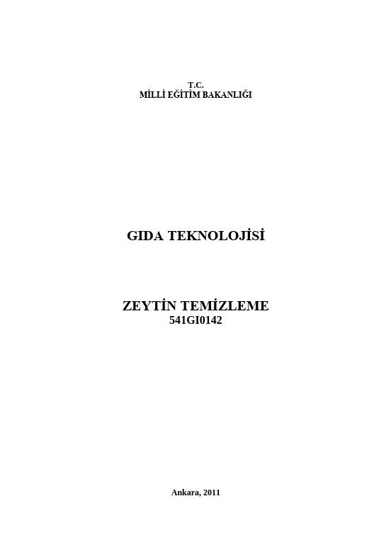 Zeytin Temizleme ders notu pdf