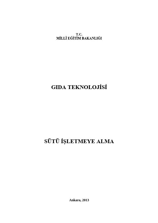 Sütü İşletmeye Alma ders notu pdf