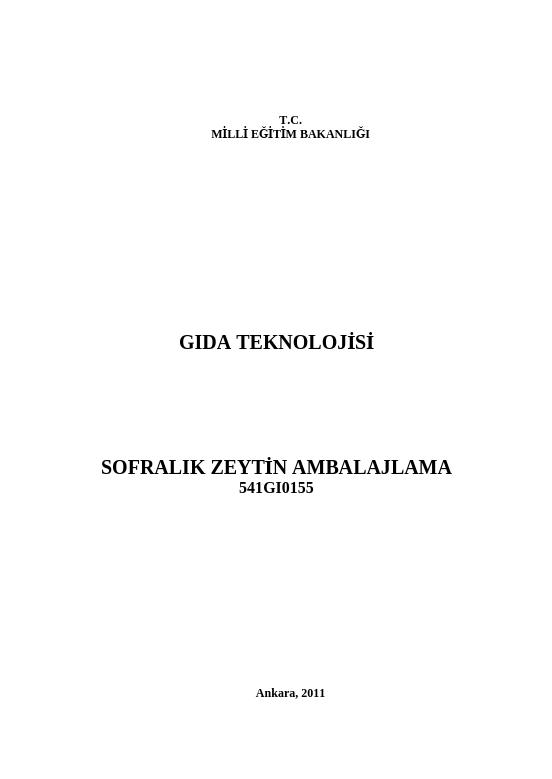Sofralık Zeytin Ambalajlama ders notu pdf