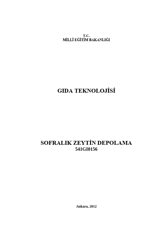 Sofralık Zeytin Depolama ders notu pdf