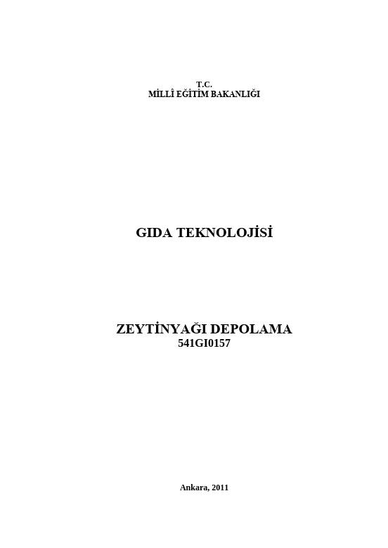 Zeytinyağı Depolama ders notu pdf