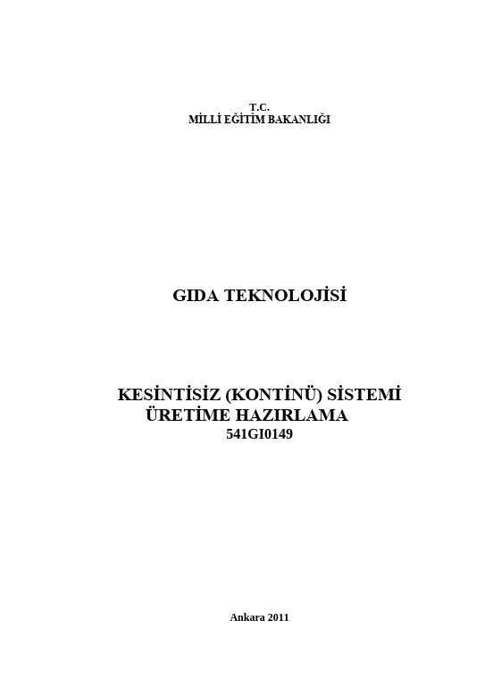 Kesintisiz (kontinü) Sistemi Üretime Hazırlama ders notu pdf