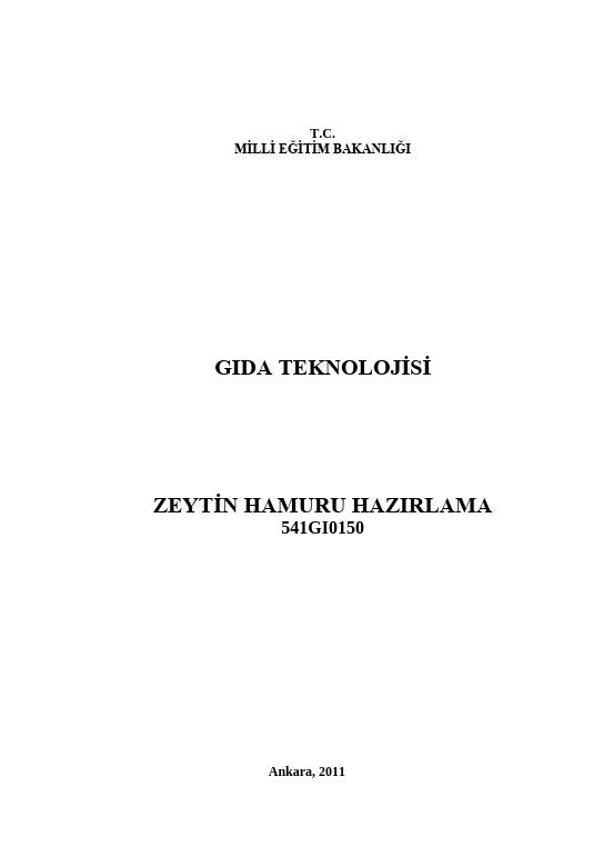 Zeytin Hamuru Hazırlama ders notu pdf