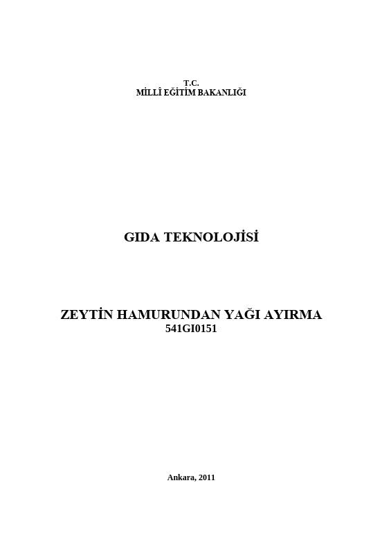 Zeytin Hamurundan Yağı Ayırma ders notu pdf