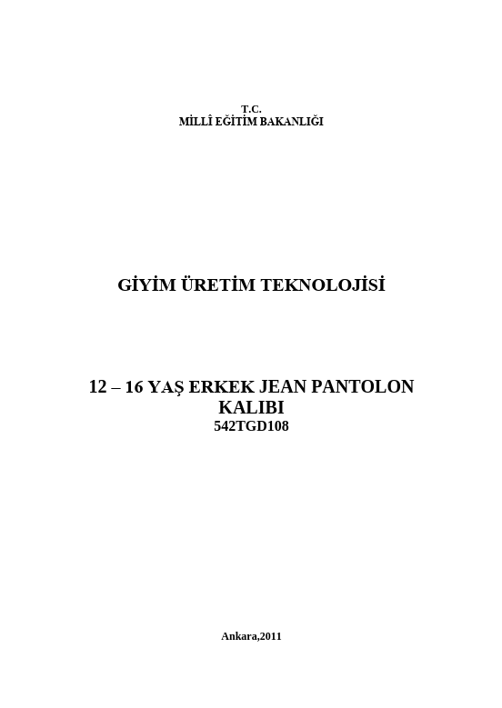 12-16 Yaş Erkek Jean Pantolon Kalıbı ders notu pdf
