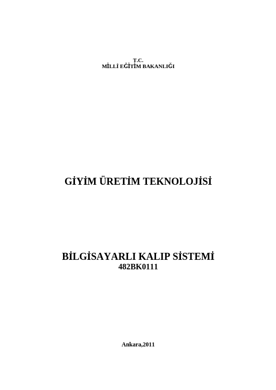 Bilgisayarlı Kalıp Sistemi ders notu pdf