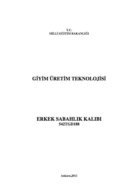 Erkek Sabahlık Kalıbı ders notu pdf