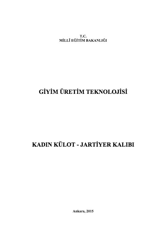 Kadın Külot-jartiyer Kalıbı ders notu pdf