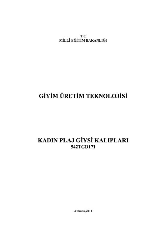 Kadın Plaj Giysi Kalıpları ders notu pdf