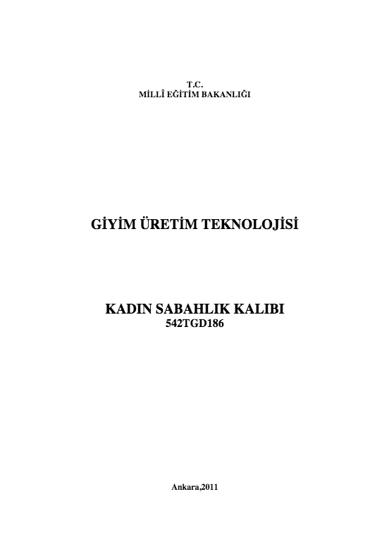 Kadın Sabahlık Kalıbı ders notu pdf