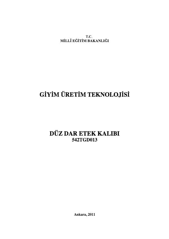 Düz Dar Etek Kalıbı ders notu pdf