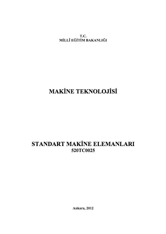 Standart Makine Elemanları