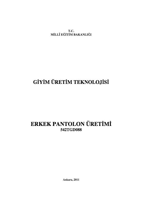 Erkek Pantolon Üretimi ders notu pdf