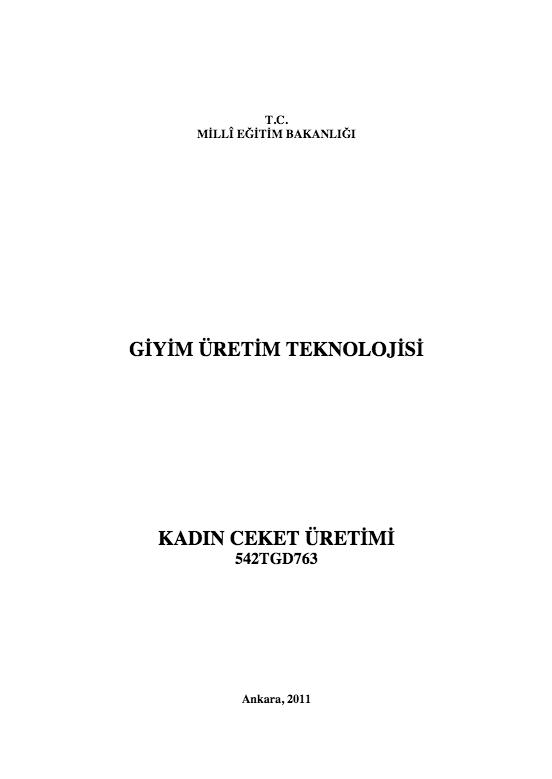 Kadın Ceket Üretimi ders notu pdf
