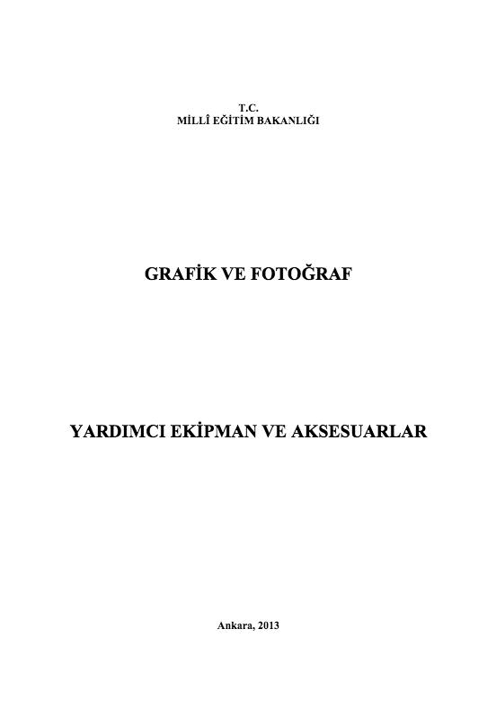 Yardımcı Ekipman Ve Aksesuarlar ders notu pdf