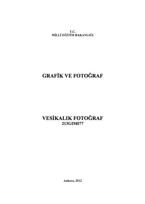 Vesikalık Fotoğraf ders notu pdf