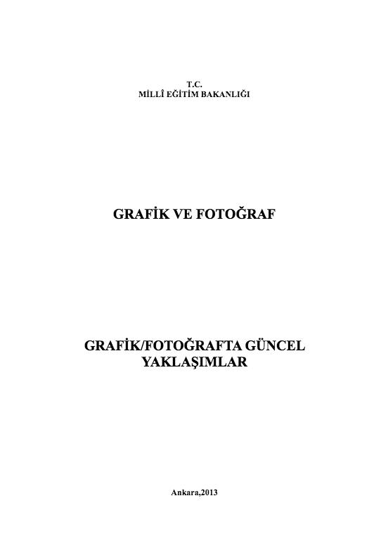 Grafik-Fotoğrafta Güncel Yaklaşımlar ders notu pdf