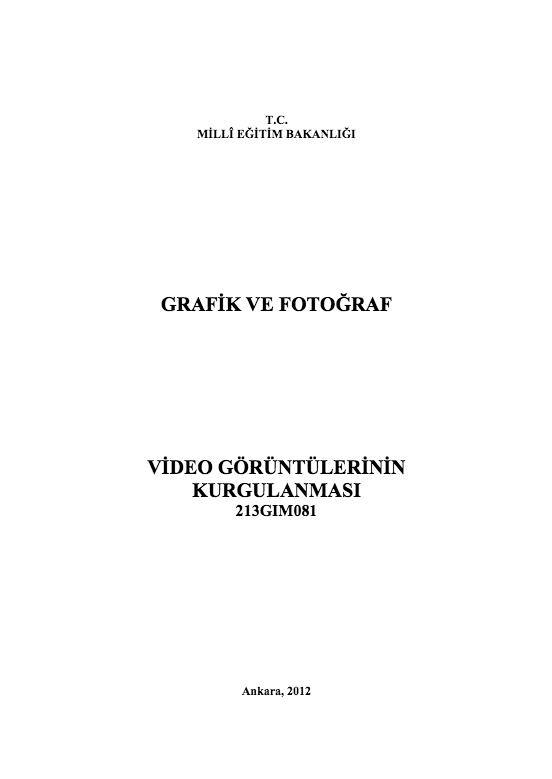 Video Görüntülerinin Kurgulanması ders notu pdf