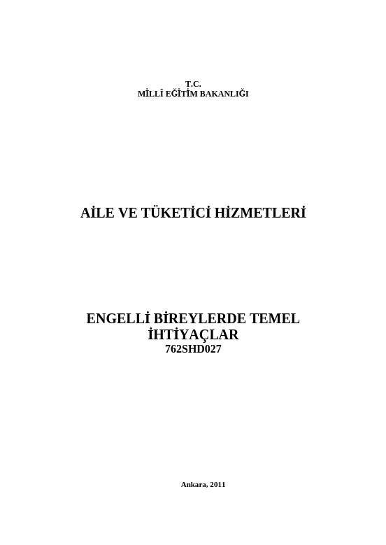 Engelli Bireylerde Temel İhtiyaçlar ders notu pdf