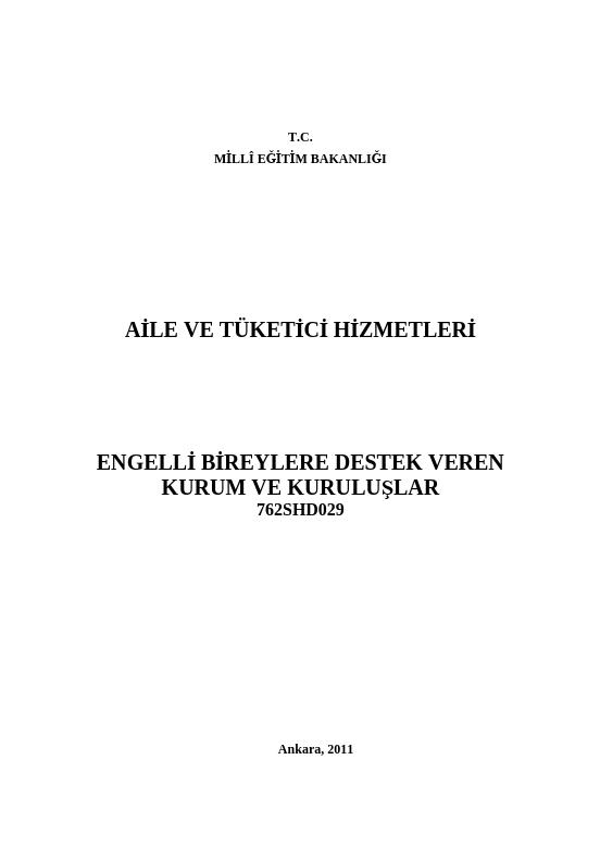 Engelli Bireylere Destek Veren Kurum Ve Kuruluşlar ders notu pdf