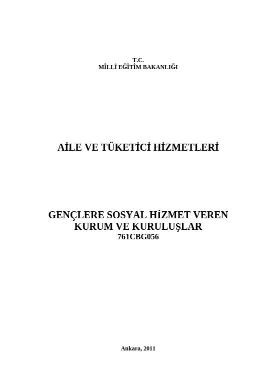Gençlere Sosyal Hizmet Veren Kurum Ve Kuruluşlar ders notu pdf
