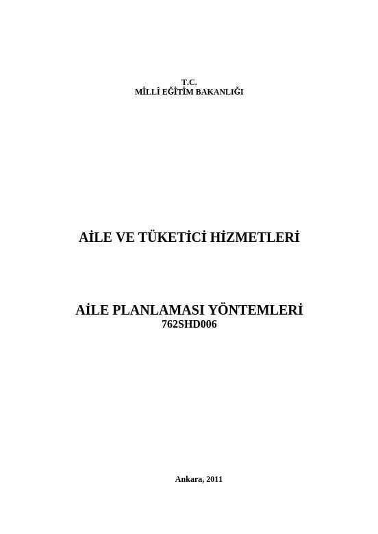 Aile Planlaması Yöntemleri ders notu pdf