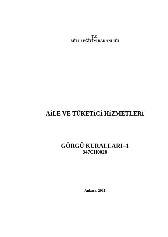 Görgü Kuralları 1 ders notu pdf