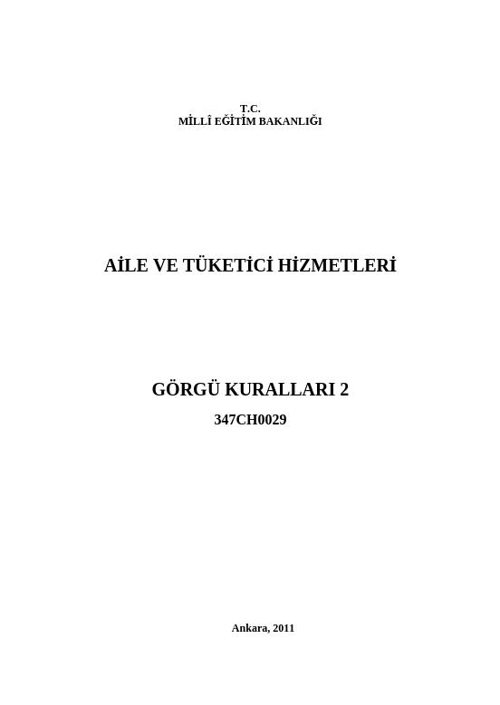 Görgü Kuralları 2 ders notu pdf