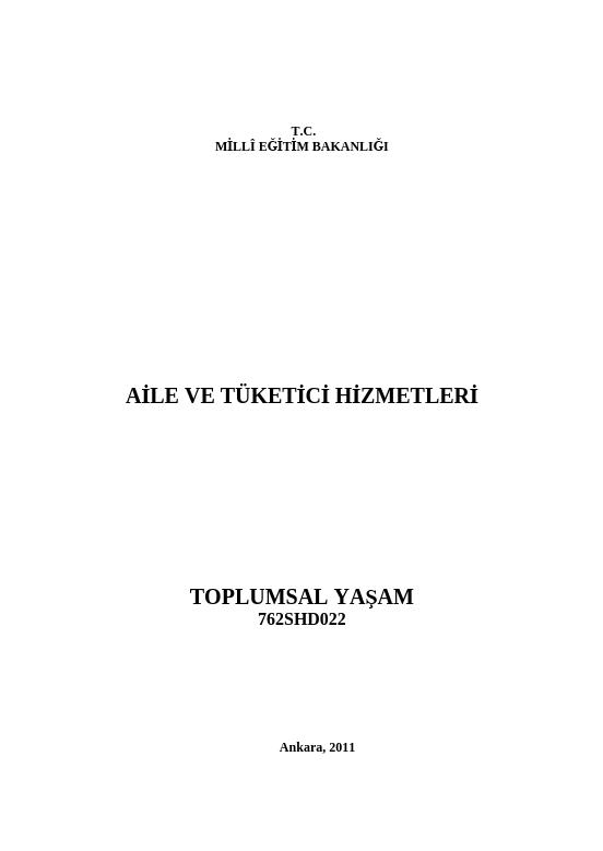 Toplumsal Yaşam ders notu pdf