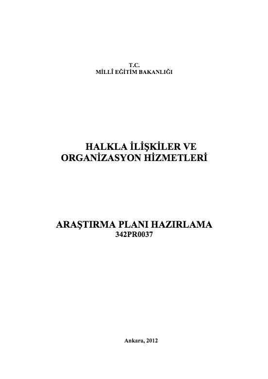 Araştırma Planı Hazırlama ders notu pdf