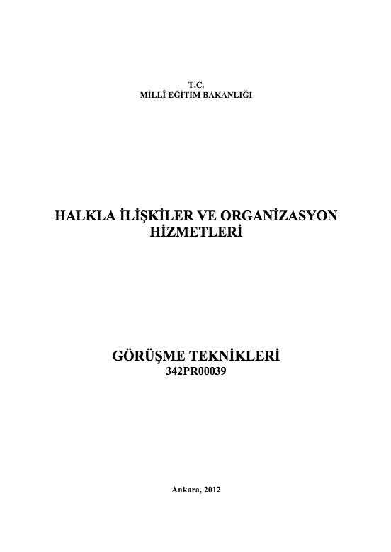 Görüşme Teknikleri ders notu pdf
