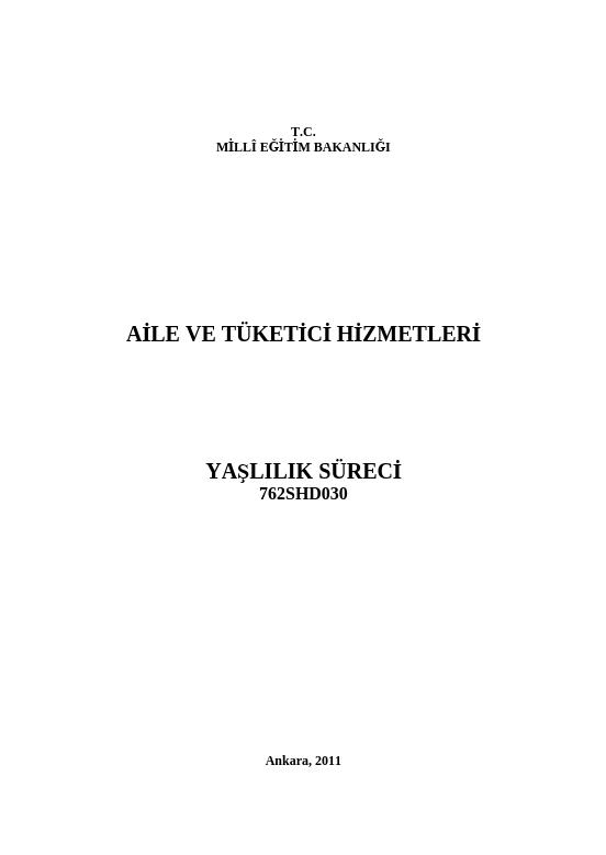 Yaşlılık Süreci ders notu pdf