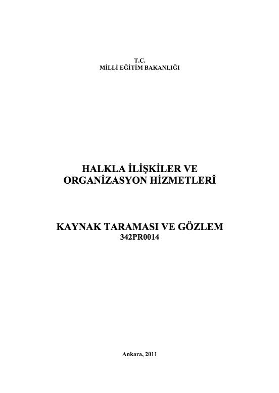 Kaynak Taraması Ve Gözlem ders notu pdf