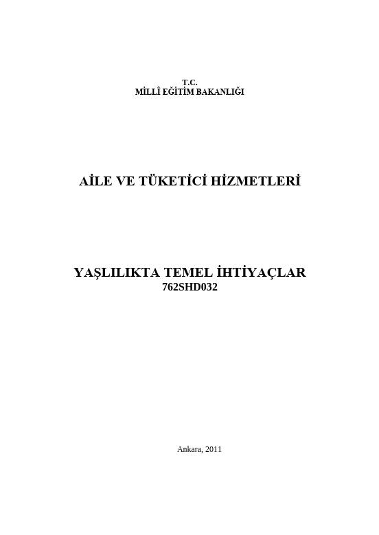 Yaşlılıkta Temel İhtiyaçlar ders notu pdf