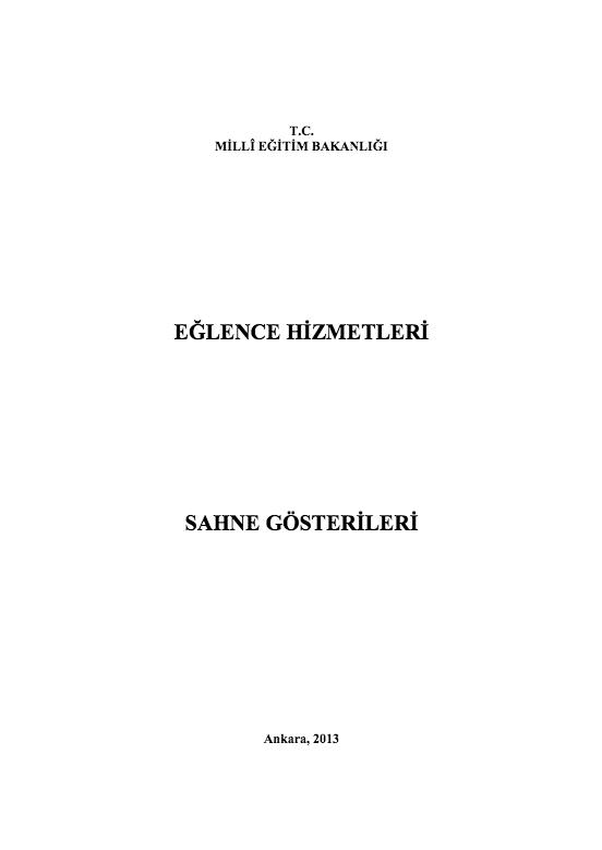 Sahne Gösterileri ders notu pdf