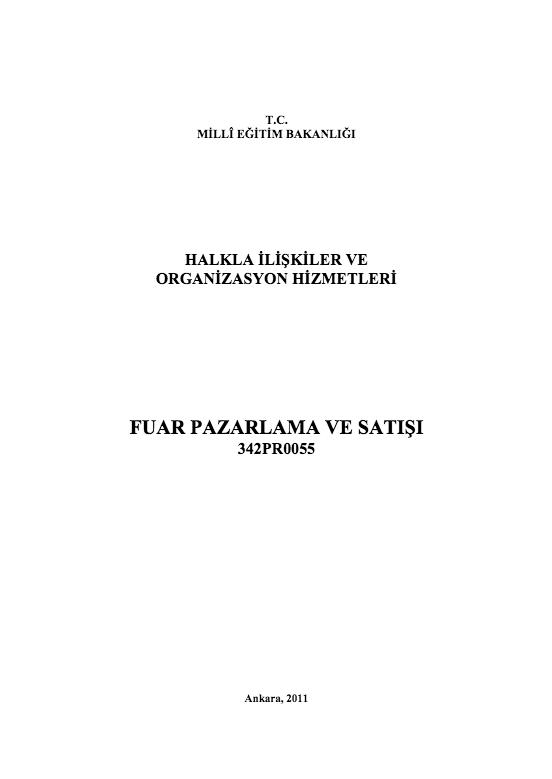 Fuar Pazarlama Ve Satışı ders notu pdf