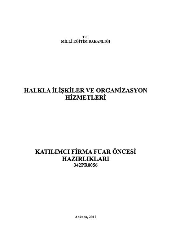 Katılımcı Firmanın Fuar Öncesi Hazırlıkları ders notu pdf