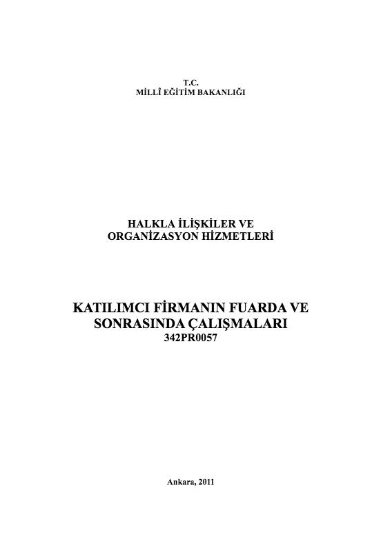 Katılımcı Firmanın Fuarda ve Sonrasında Çalışmaları ders notu pdf