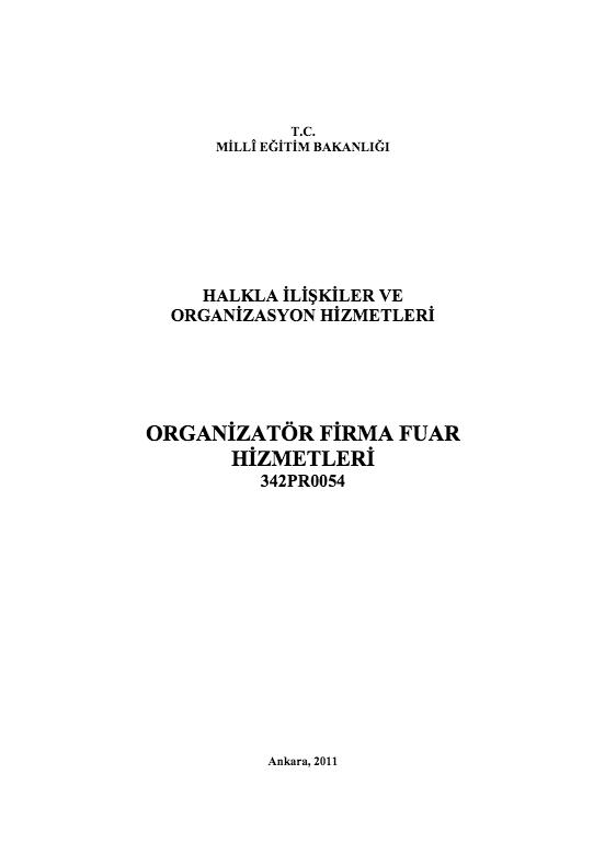Organizatör Firma Fuar Hizmetleri ders notu pdf