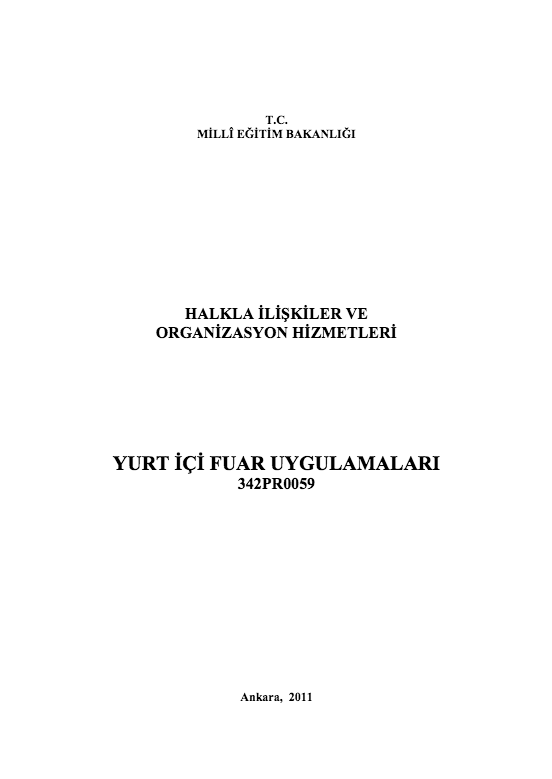 Yurt Içi Fuar Uygulamaları ders notu pdf