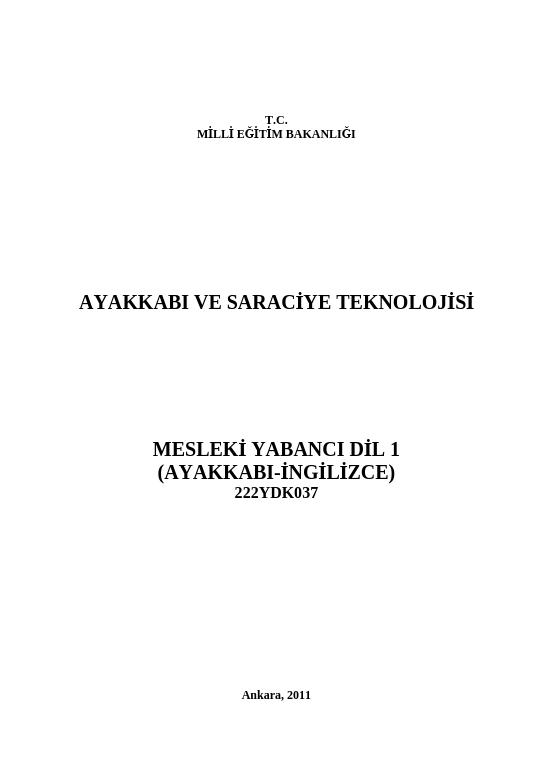 Mesleki Yabancı Dil 1 (ayakkabı-İngilizce) ders notu pdf