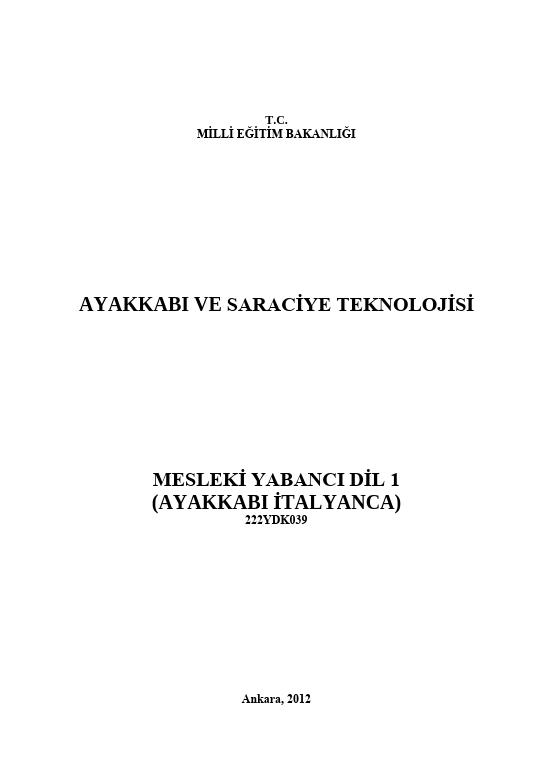 Mesleki Yabancı Dil 1 (ayakkabı-İtalyanca) ders notu pdf