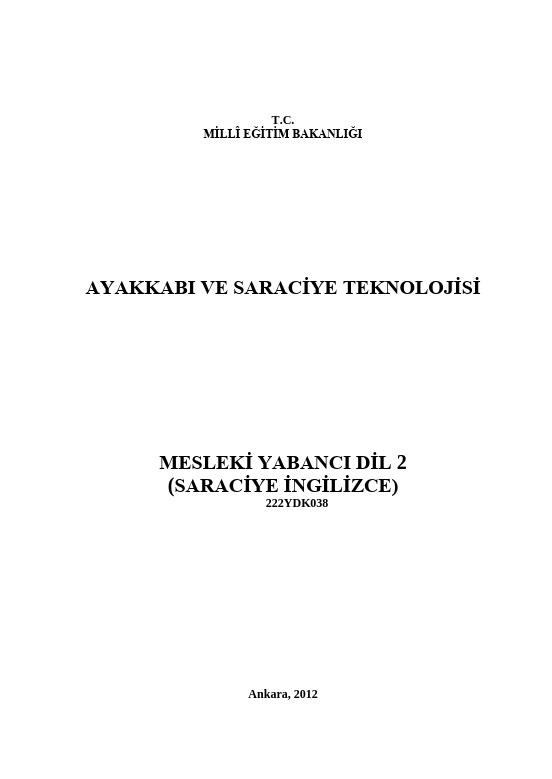 Mesleki Yabancı Dil 2 (ayakkabı-İngilizce) ders notu pdf