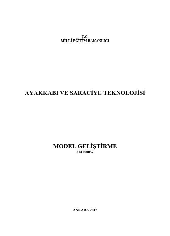 Model Geliştirme (ayakkabi) ders notu pdf