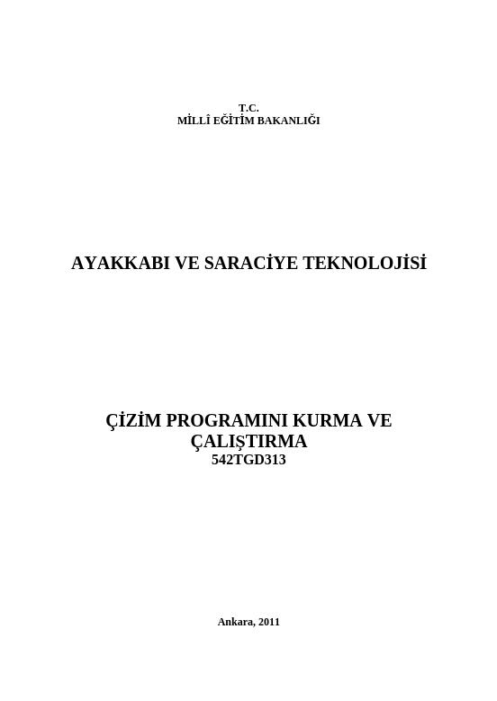 Çizim Programını Kurma Ve Çalıştırma ders notu pdf