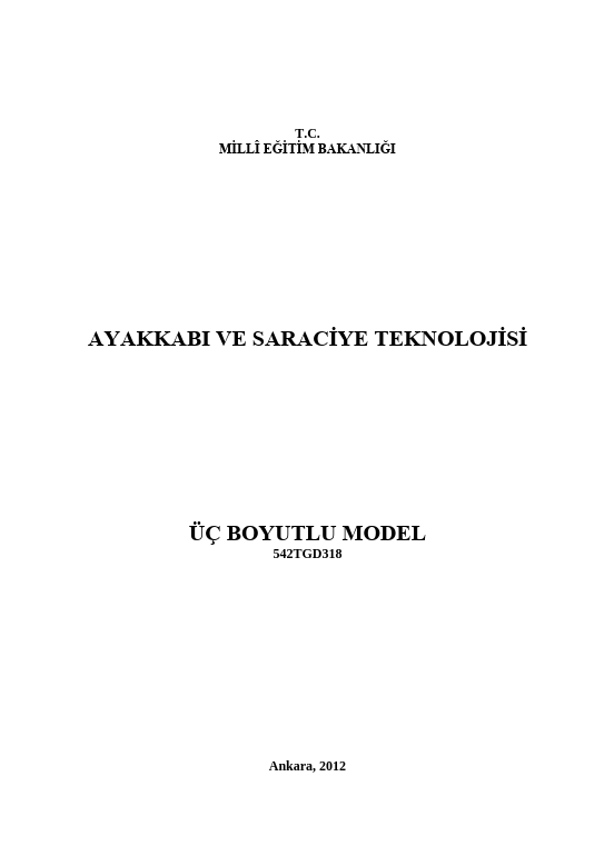 Üç Boyutlu Model (saracİye) ders notu pdf