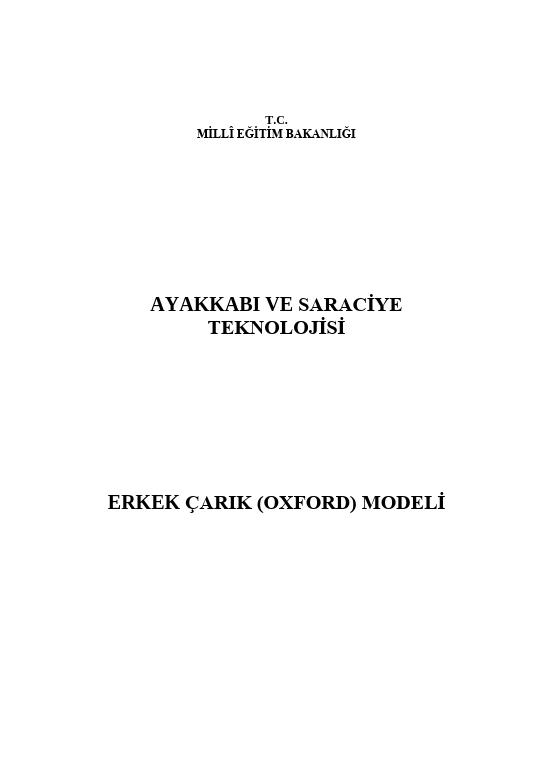 Erkek Çarık (oxford) Modeli ders notu pdf