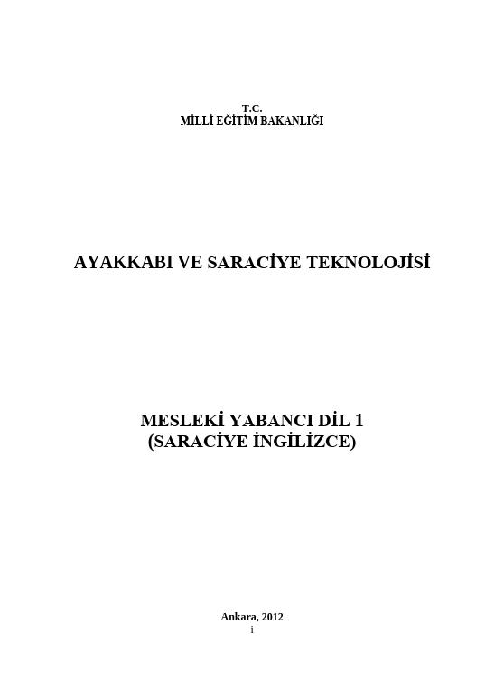 Mesleki Yabancı Dil 1 (saraciye-İngilizce)
